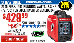 2000 Peak/1600 Running Watts, 2.8 HP  (79.7cc) Portable Inverter Generator CARB