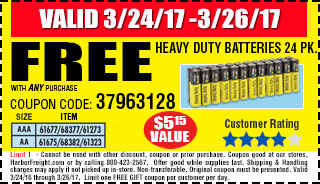 Free Heavy Duty Batteries 24 Pk