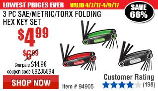 3 Pc SAE/Metric/Torx Folding Hex Key Set