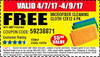 Free Microfiber Cleaning Cloth 12x12 4 Pk.