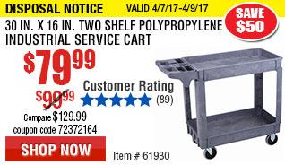 30 In. x 16 In. Two Shelf Polypropylene Industrial Service Cart