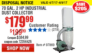 870 gal. 2 HP Industrial Dust Collector