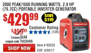 2000 Peak/1600 Running Watts, 2.8 HP  (79.7cc) Portable Inverter Generator CARB