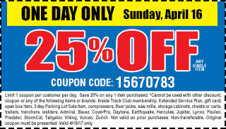 25 % off any single item
