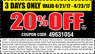 20 % off any single item