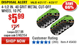 4-1/2 in. 40 Grit Metal Cut-off Wheel 10 Pc