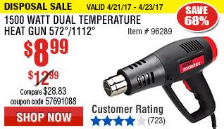 1500 Watt Dual Temperature Heat Gun 572°/1112°