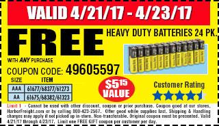Free Heavy Duty Batteries 24 Pk