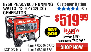 8750 Peak/7000 Running Watts, 13 HP  (420cc) Generator