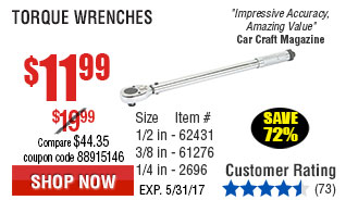 1/4 in. Drive Click Type Torque Wrench