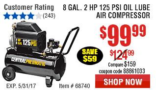 8 gal.  2 HP 125 PSI Oil Lube Air Compressor
