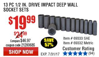 13 Pc Metric Impact Deep Wall Socket Set