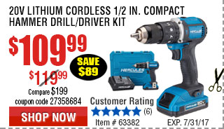 20V Lithium-Ion 1/2 in. keyless Compact Hammer Drill/Driver Kit