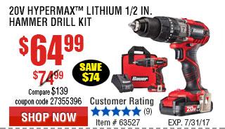20V Hypermax™ Lithium 1/2 in. Hammer Drill Kit