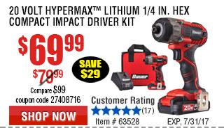 Volt Hypermax™ Lithium  Hex Compact Impact Driver Kit