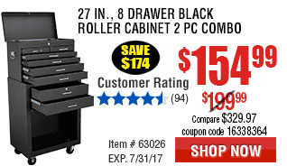 27 in., 8 Drawer Black Roller Cabinet 2 Pc Combo