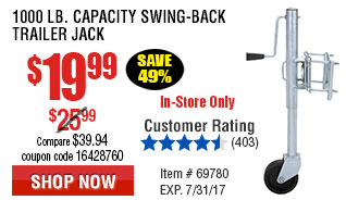 1000 lb. Capacity Swing-Back Trailer Jack