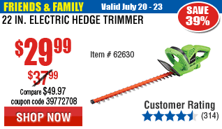 22 in. Electric Hedge Trimmer