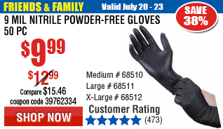 9 mil Nitrile Powder-Free Gloves 50 Pc X-Large