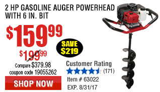 2 HP Gasoline Auger Powerhead with 6 in. Bit