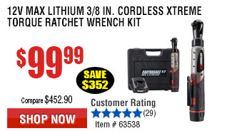 3/8in. Cordless Xtreme Torque Ratchet Wrench Kit
