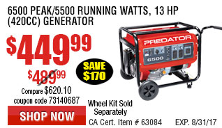 6500 Max Starting/5500 Running Watts, 13 HP  (420cc) Generator EPA III with GFCI Outlet Protection