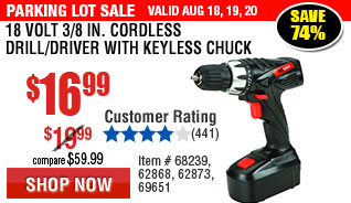 18 Volt 3/8 in. Cordless Drill/Driver With Keyless Chuck, 21 Clutch Settings