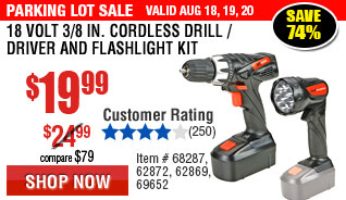 18 Volt 3/8 in. Cordless Drill/Driver And Flashlight Kit