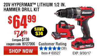 20V Hypermax™ Lithium 1/2 in. Hammer Drill Kit