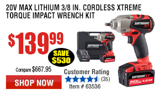 20V Lithium Earthquake 3/8 in. Impact Wrench Kit