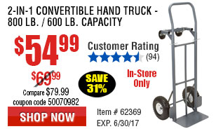 2-in-1 Convertible Hand Truck -  800 Lb. / 600 Lb. Capacity