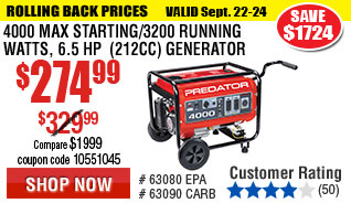4000 Max Starting/3200 Running Watts, 6.5 HP  (212cc) Generator