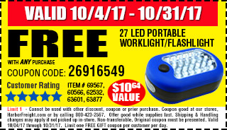 Free flashilight with any purchase