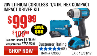 20V Lithium Cordless  1/4 in. Hex Compact Impact Driver Kit