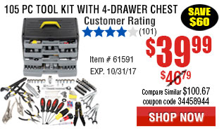 105 Pc Tool Kit with 4-Drawer Chest