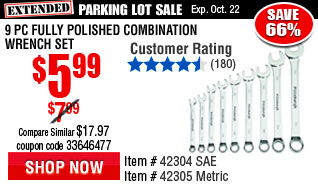 9 Pc Fully Polished SAE Combination Wrench Set