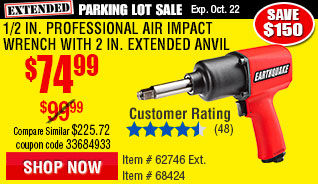 1/2 in. Aluminum Air Impact Wrench With 2 in. Extended Anvil