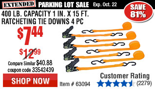 400 lb. Capacity 1 in. x 15 ft. Ratcheting Tie Downs 4 Pc