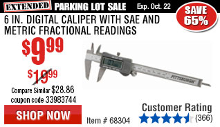 6 in. Digital Caliper with SAE and Metric Fractional Readings