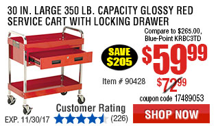 30 in. Large 350 lb. Capacity Glossy Red Service Cart With Locking Drawer