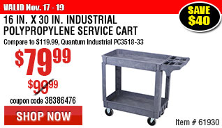 16 In. x 30 In.  Industrial Polypropylene Service Cart