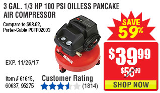3 gal. 1/3 HP 100 PSI Oilless Pancake Air Compressor