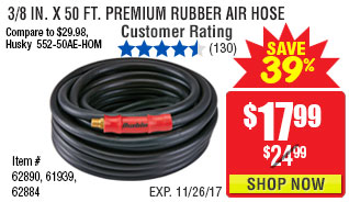 3/8 in. x 50 ft. Premium Rubber Air Hose