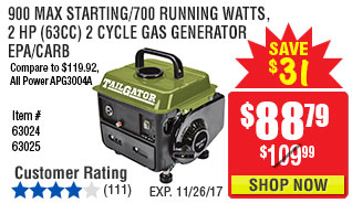 900 Max Starting/700 Running Watts, 2 HP  (63cc) 2 Cycle Gas Generator EPA/CARB