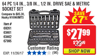 64 Pc 1/4 in., 3/8 in., 1/2 in. Drive SAE & Metric Socket Set