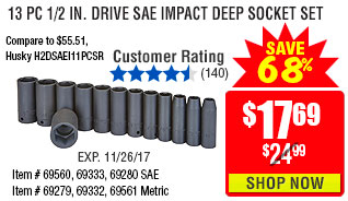 13 Pc 1/2 in. Drive SAE Impact Deep Socket Set