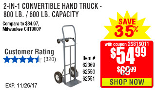 2-in-1 Convertible Hand Truck -  800 Lb. / 600 Lb. Capacity