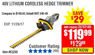 40V Lithium Cordless Hedge Trimmer