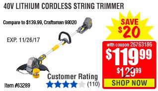 40V Lithium Cordless String Trimmer