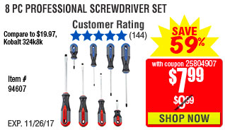 8 Pc Professional Screwdriver Set
